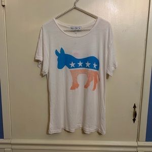 Wildfox Patriotic Democrat Donkey Graphic Tee Med